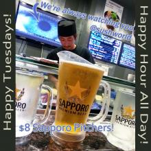 Orange County Happy Hour All Day Tuesdays Sapporo Pitchers Sushi Appetizers OC Sushi World