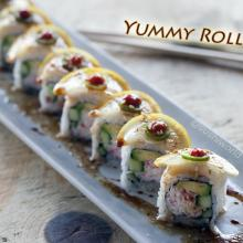 Yummy Roll In Your Tummy California Roll Escolar Lemon Sriracha Serrano Peppers Orange County OC Sushi World