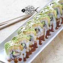 Caterpillar Roll Baked Eel Unagi Avocado Sweet Sauce Cypress Sushi World Orange County OC