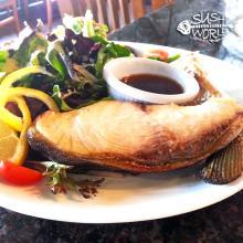 Hamachi Kama Yellowtail Collar Seared Mixed Greens Salad Ponzu Sauce Orange County OC Sushi World