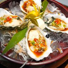 Fresh Raw Oysters Half Shell Ponzu Masago Green Onions Orange County Cypress Garden Grove